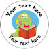 Personalised Dinosaur reading school badge