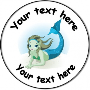 Personalised custom badge Kids Party mermaid