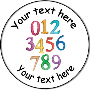 Personalised custom badge Education and School colourful set of numbers