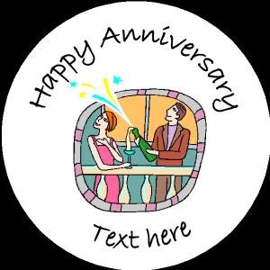 A004 Happy Anniversary Badge couple opening champagne bottle any text/number/background colour