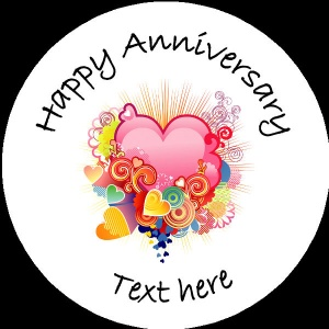 A005 Happy Anniversary Badge colourful hearts any text/number/background colour