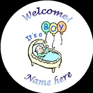 B009 New Baby Badge with baby boy in pram any text background colour