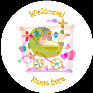 B010 New Baby Badge with baby in pram any text background colour