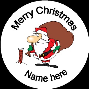 Personalised Christmas Badge santa with small chimney