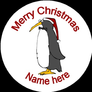 Personalised Christmas Badge penguin with santa hat