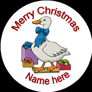 Personalised Christmas Badge goose with presents