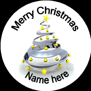 Personalised Christmas Badge silver christmas tree with yellow baubles