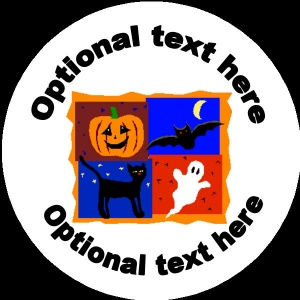 HA006 Personalised Halloween Badge bat, pumpkin, ghost and cat any text background colour