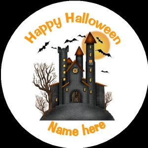 HA007 Personalised Halloween Badge haunted house