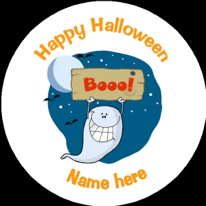 HA010 Personalised Halloween Badge ghost with a boo sign