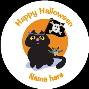 HA012 Personalised Halloween Badge black cat with a skull flag