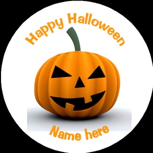 HA014 Personalised Halloween Badge scary pumpkin