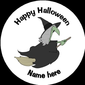 HA018 Personalised Halloween Badge witch on a broomstick