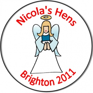 Hen night party personalised badge angel