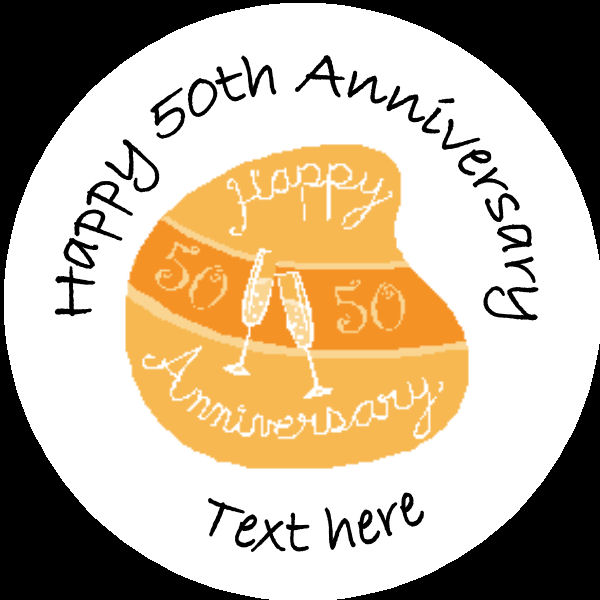 A010 Happy Anniversary Badge 50th with glasses any text background ...