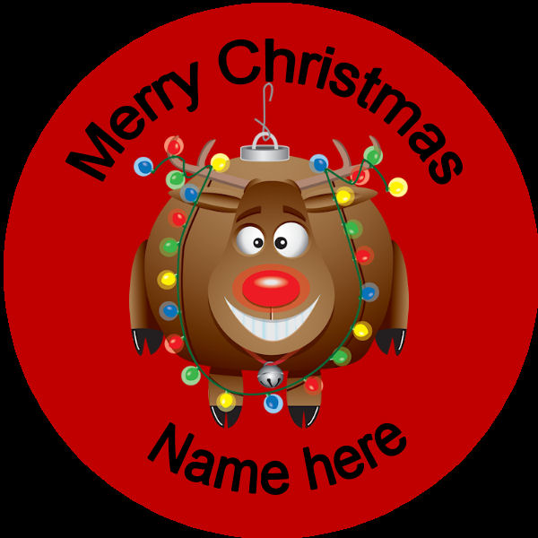 D004 Personalised Christmas Badge rudolph with a bauble ...