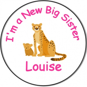 New Brother/Sister Baby Personalised Badge cheetah cat with cub