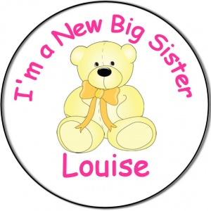 New Brother/Sister Baby Personalised Badge yellow teddy bear