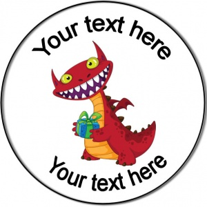 Personalised custom badge birthday laughing dragon with gift