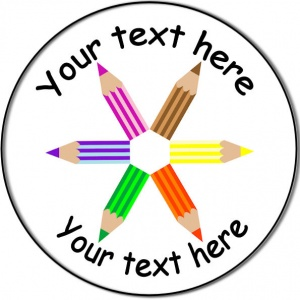 Personalised custom badge Education and School crayons in a star shape