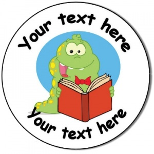 Personalised custom badge Education and School dinosaur reading a book