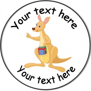 Personalised custom badge Education and School kangaroo with books in pouch
