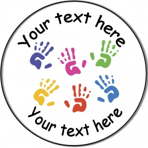 Personalised custom badge Education and School playgroup or nursery staff hand prints