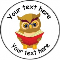 Personalised custom badge Education and School wise owl reading a book