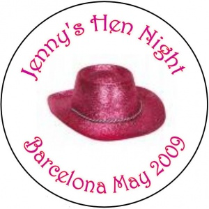 Personalised custom badge hen night party cowboy pink hat