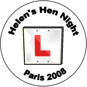 Personalised custom badge hen night party L plate learner