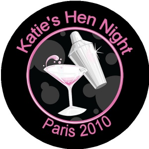 Personalised custom badge hen night party martini alcohol drink