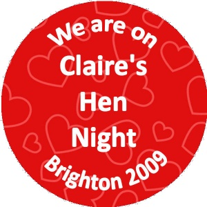 Personalised custom badge hen night party red hearts background
