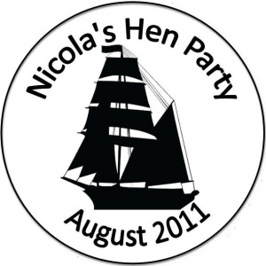 Personalised custom badge hen night party ship sailing boat
