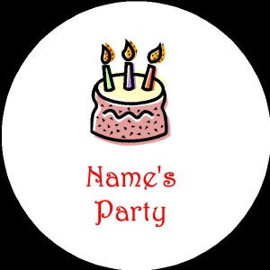 Personalised custom badge Kids Party birthday cake