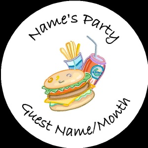 Personalised custom badge Kids Party burger with chips