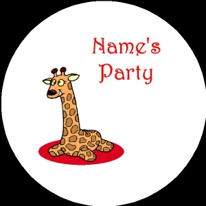 Personalised custom badge Kids Party giraffe
