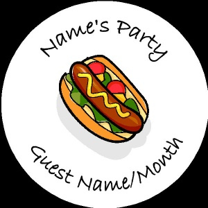 Personalised custom badge Kids Party hotdog