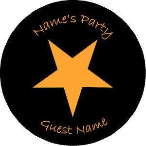 Personalised custom badge Kids Party orange star