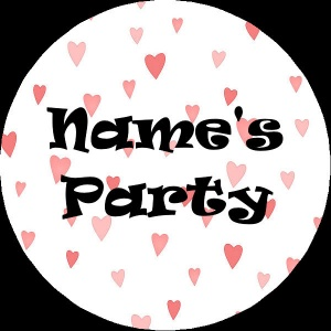 Personalised custom badge Kids Party textured background hearts