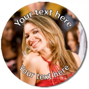 Personalised custom photo Badge use photo as background