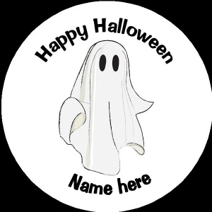 Personalised Halloween Badge ghost