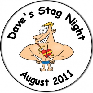 Stag Night Party personalised badge body builder with heart tattoo