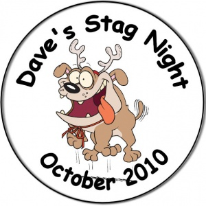 Stag Night Party personalised badge bulldog with antlers