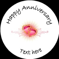 A001 Happy Anniversary Badge two hearts entwined any text/number/background colour