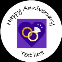 A002 Happy Anniversary Badge rings and hearts any text/number/background colour