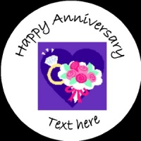 A003 Happy Anniversary Badge ring, flowers and heart any text/number/background colour