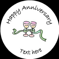 A006 Happy Anniversary Badge champagne glasses any text/number/background colour