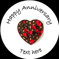A007 Happy Anniversary Badge heart and chocolates any text/number/background colour