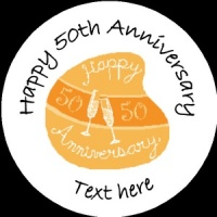 A010 Happy Anniversary Badge 50th with glasses any text background colour