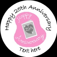 A011 Happy Anniversary Badge 25th with heart any text background colour